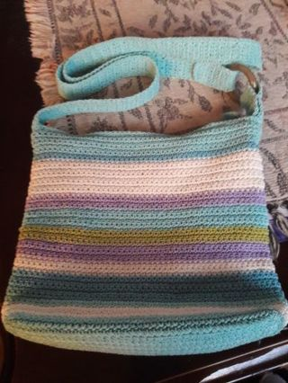 Pretty Turquoise Striped Crochet Purse (Used)