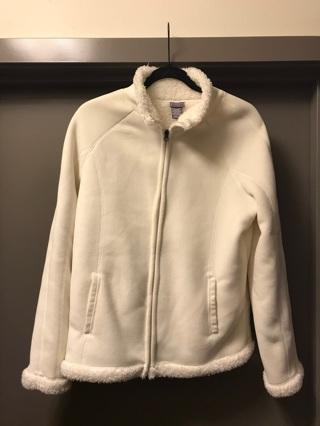 Laura Scott Women's Faux Fur Zip Jacket White Sweater Medium M
