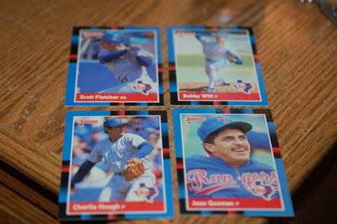Set of 4 Texas Rangers Baseball Cards, 1988 Donruss