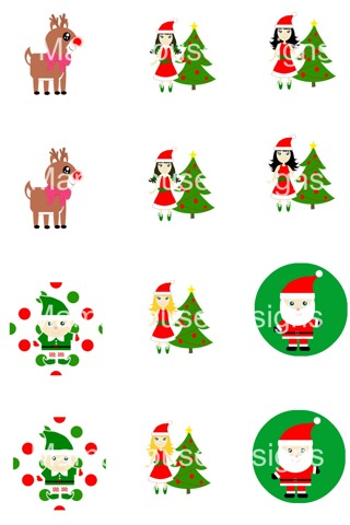 Christmas Bottle Cap Digital Craft Image Sheet Emailed