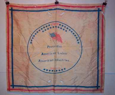 """1888 Handkerchief Benjamin Harrison """"Protection To American Labor And American Industries"""""""