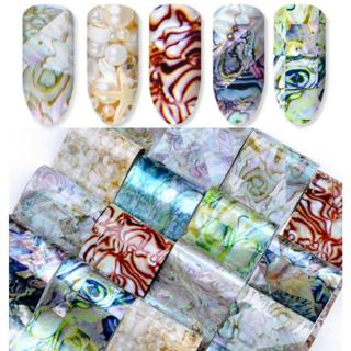 Nail Art Gradient Marble Shell Design Foils Transfer Decals Sticker Decoration