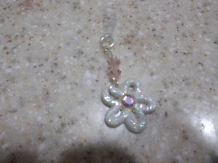 Glittery Flower Dust Plug w/ Pink Beads
