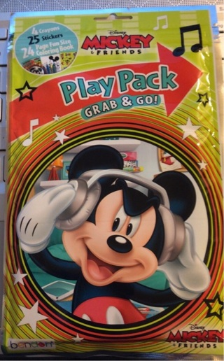 "BNIP ""Disney's: Mickey Mouse"" Crayons/Stickers/Coloring Book Grab/Go Play Pack."