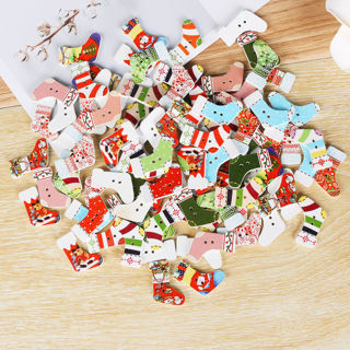 50Pcs 2 Holes Christmas Socks Wood Sewing Decorative Buttons Cloth Xmas