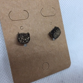 Black and Gold Cat Head Earrings