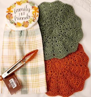 """Crochet 2 - 9"""" wash/dish towels 1 terry cloth Dish towel WHICH IS A HANGIN TOWEL AND 1 PAIR of tongs"""