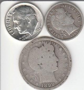 Silver 1899 Quarter 1907-S & 1955-S Dimes!!!