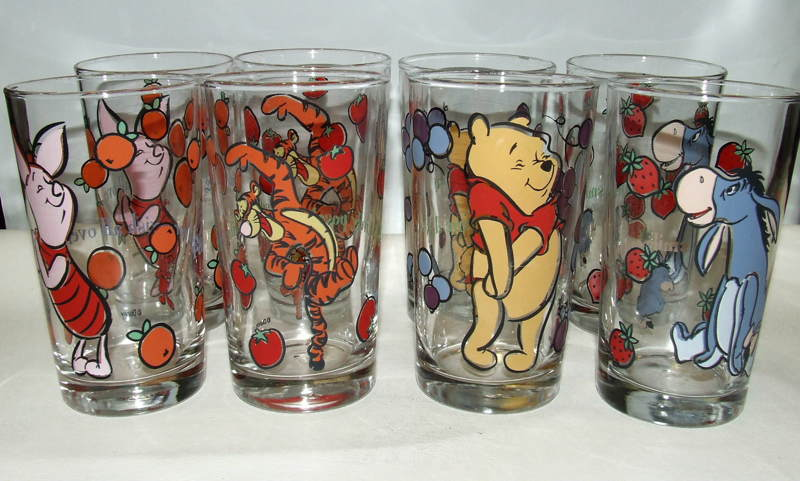 Free Lot Set Of 8 Anchor Hocking Winnie The Pooh Juice