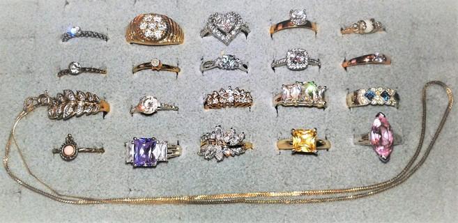~Estate Find 20 Rings 14K, 10K Engagement Ring, 925, Diamonds, Herringbone Chain Lot 1 Credit Start~