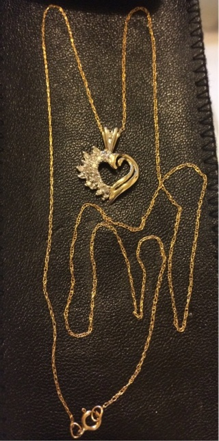 10k Solid Gold Chain with 10k Heart Diamonds Pendant