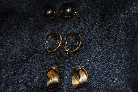 Nice Vintage Clip On Earrings Lot 3 pair (one set signed Trifari)