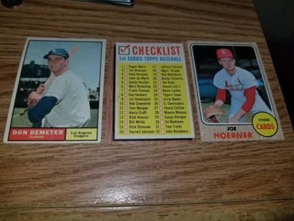 Topps Baseball 3 card lot 1961 #23 1962 #22 and 1968 #227,VGEX/EXMT,condition,Free Shipping!