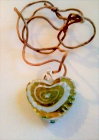 LARGE  TWO SIDE GLASS HEART ADJUSTABLE NECKLACE