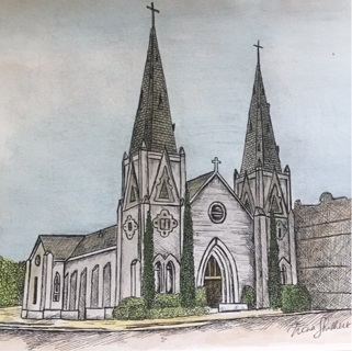 "CATHOLIC CHURCH IN VICTORIA TEXAS - 5 x 7"" art card by artist Nina Struthers - GIN ONLY"