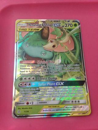Venusaur and Snivy Tag Team GX Ultra Rare Pokemon Card Mint