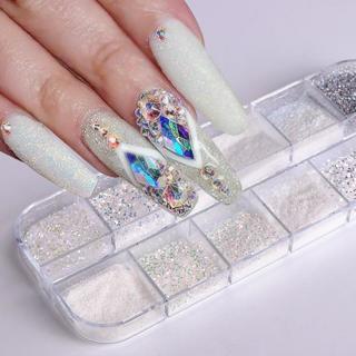 1 Set Candy Color Holographic Sugar Nail Glitter Powder Mermaid Sandy Dust Holographic Nail Art Pi