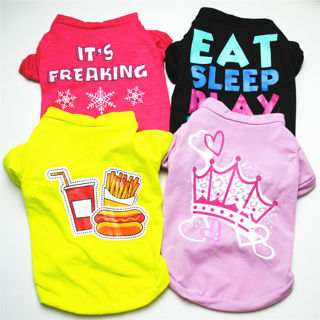 [GIN FOR FREE SHIPPING] Pet Dog Cat Cute Patterned Casual Vest Puppy Sleeveless T-Shirt