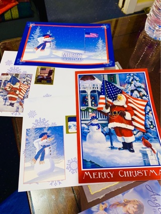 2 Patriotic (Red, White & Blue) Christmas Cards Perfect for Our Men & Women in Uniform and Veterans