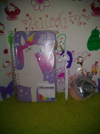 "❤✨❤✨❤BRAND NEW KAWAII""UNICORN"" NOTEBOOK, INK PEN, 3-D LIQUID STICKER & KEYCHAIN SET❤✨❤✨❤ONLY 1!"