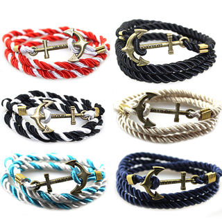 New Men's Rope Wristband Bracelet Handmade Multilayer Women Leather Men Bangle
