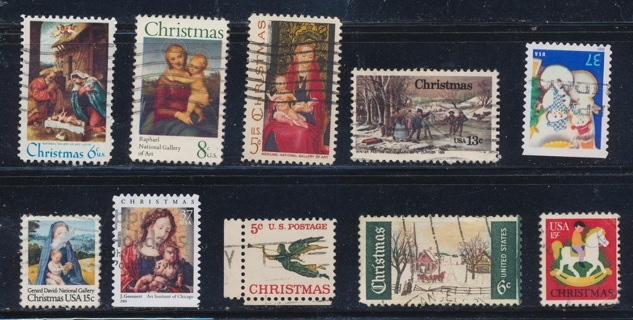 United States:  (10) Christmas Stamps, All Different, Used, In Excellent Condition - CHS-1044a