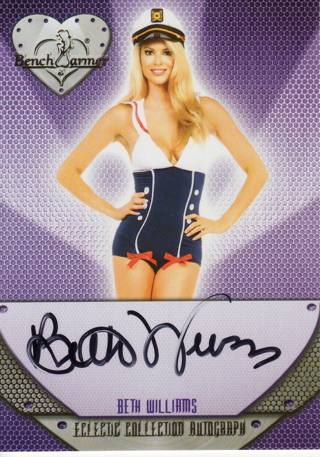 BETH WILLIAMS 2015 BENCHWARMER ECLECTIC SIGNATURE SERIES AUTOGRAPHED AUTO PLAYBOY PLAYMATE AUG 2012