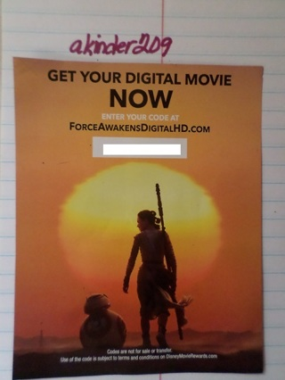 Star Wars: The Force Awakens Digital Movie Code