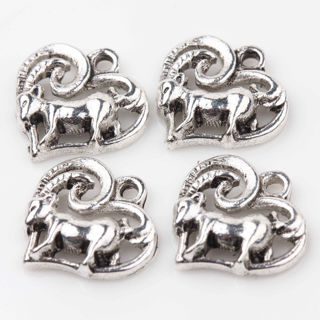 30PCs Tibet Silver Heart Carving Goat Charms Pendants Jewelry Making 14x14mm