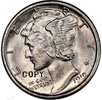 1919 S Mercury Dime COPY with same dimensions, looks and feels the same. Ships 1 day