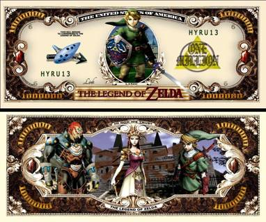 Legend of Zelda Million Dollar Bill Collectible Fake Play Funny Money $ Novelty Note
