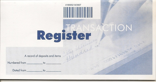free new account transaction register book checkbook style never