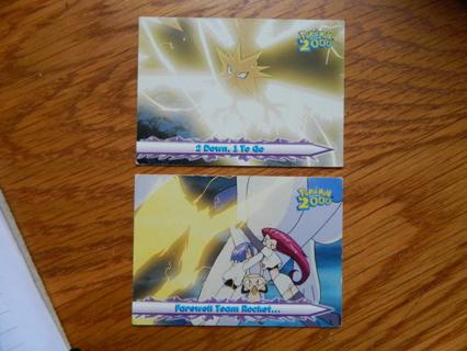 (2) Pokemon Movie 2000 (Topps) #35 2 Down, 1 To Go & #55 Farewell Team Rocket... c2000 - FREE Ship!