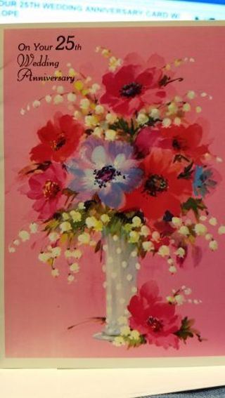 """""""ON YOUR 25TH WEDDING ANNIVERSARY VINTAGE CARD W/ ENVELOPE"""