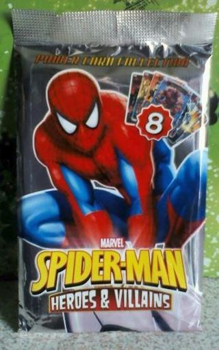 NEW Pack Unopened Marvel Spider-Man Heroes & Villains Power Cards TCG Booster PACK Full art cards