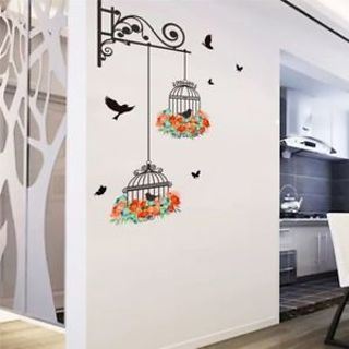 Bedroom Decor Decals Flying Birds Plants Self-adhesive Living Room Wall Stickers