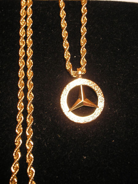 Free new 14k gold gp reversible mercedes benz 30 chain for Mercedes benz pendant
