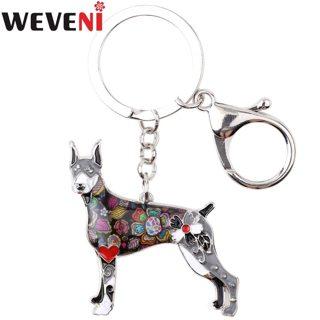 WEVENI Enamel Alloy Doberman Dog Key Chain Key Ring Bag Charm Car Wholesale Keychain Accessories New
