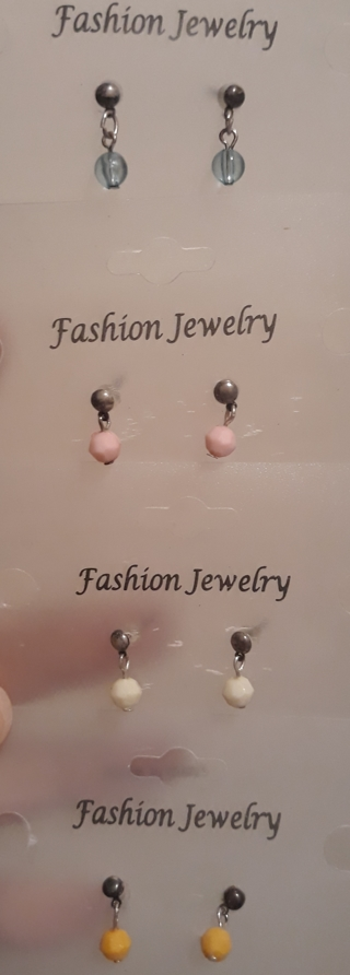 4 Pair of Small Stud Earrings with Dangling Circles