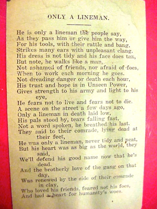 Early 1920s ONLY A LINEMAN poem & humor Early social media personal introduction card