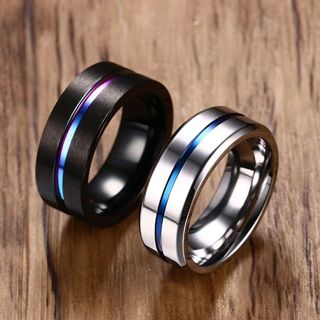 BN 8mm Black Silver Blue Line Stainless Steel Ring