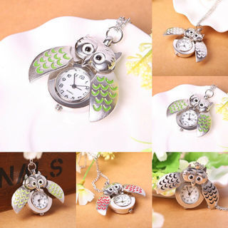 Multicolor Feather Night Owl Shape Pendant Necklace Quartz Pocket Watch Gift