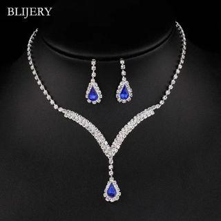 Royal Blue Crystal Bridal Jewelry Sets V Shaped Teardrop Choker Necklace Earrings set