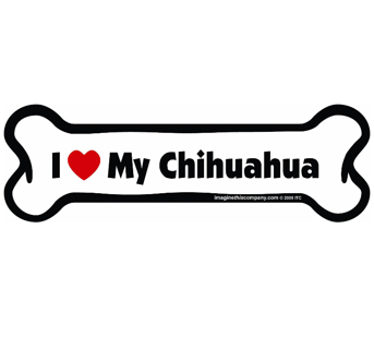 """""""I Love My Chihuahua Bone Car Magnet"""