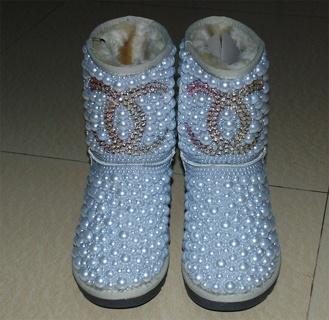 acacda79216 Free: Stunning ~ Rhinestone Ugg Chanel inspired Boots ~ so beautiful ...