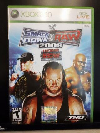 WWE SmackDown vs. Raw 2008 (Xbox 360, 2007, Like New Condition)