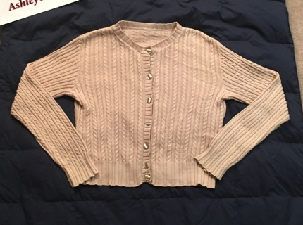 Tan Creme Plain Cardigan Sweater Button Up