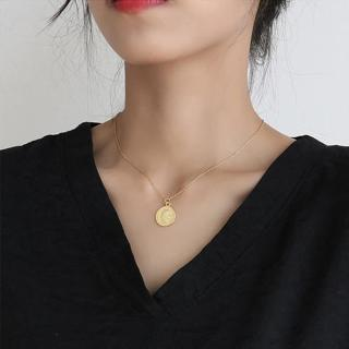 Vintage Carved Coin Necklace For Women Stainless Steel Gold Color Medallion Pendant Necklace Long