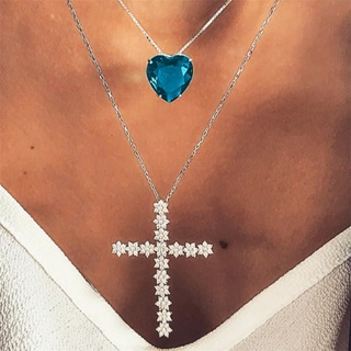 Women Fashion Shiny Cross Heart Love Crystal Gem Pendant Silver Necklace Set Exquisite Girl Wedding