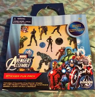 "BNIP: Marvel's ""AVENGERS"" Set: 2 Reusable Clingy Sticker Sheets, Background Scene"